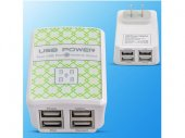AC USB 4-port Travel Charger with LED Display for iPad / Galaxy Tab / Galaxy Note / Phones
