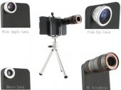 Wide Angle + Fisheye + 8X Telephoto Lens Combo for iPhone 4G