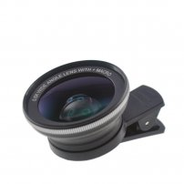 37mm Cloth-Clip 0.60X Wide Angle Lens (+ Macro Lens) for iPhone / iPad / Samsung, Google SmartPhones