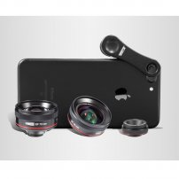 CL06Clip HD Macro Lens / HD Portrait Lens / HD Wide Angle Lens Delux Combo for iPhone, Cell Phones