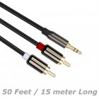 50 Feet (15 Meters) Gold Plated 3.5mm Aux Audio Male to RCA Male Stereo Audio Extension Cable